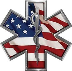 Star of Life Emergency EMS EMT Paramedic Decal with American Flag (Fire Ems Decals)