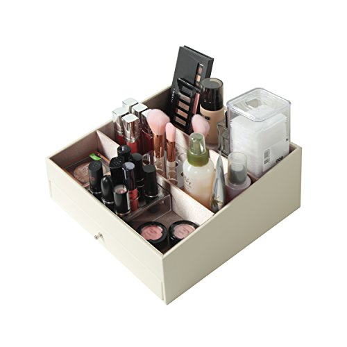 JackCubeDesign Leather Cosmetic Makeup Desk Supplies Organizer Storage Box Case Lipstick Brush Acrylic Holder Display with 3 Compartments and Drawer(Ivory, 9.8 x 9.9 x 4.7 inches)-:MK236C by Jack Cube