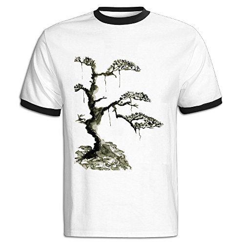 Clash Color Funny T Shirts Pine Chinese Style Tee-shirt For Men