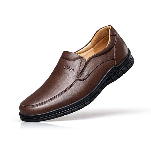 ZRO Mens Shoes On Slip Loafer Brown Leather Casual Oxford xHSRxwU