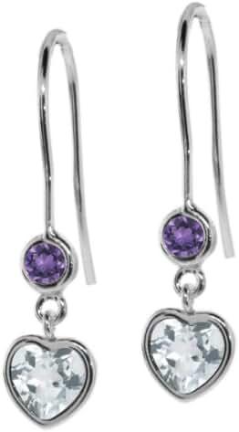 0.96 Ct Sky Blue Aquamarine Purple Amethyst 925 Sterling Silver Earrings