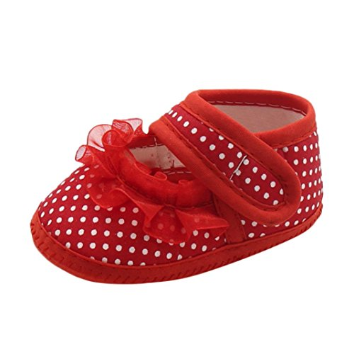 Red Sole Lace - Clearance ! Newborn Shoes,kaifongfu Baby Dot Lace Shoes Girls Soft Sole Prewalker Warm Casual Flats Shoes for Infant (13♣♣Age:9~12 Month, Red A)