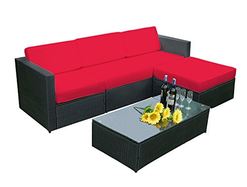 Amazon.com: MCombo 5 PC Rattan Outdoor Patio Furniture Set