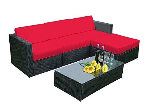 MCombo 5 PC Rattan Outdoor Patio Furniture Set Garden Lawn Sofa Cushioned Seat Sectional Set Wicker Sofa 6089-1005RD -