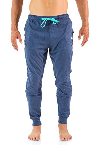Balanced Tech Men's Cotton Knit Jogger Lounge Pants - Denim - Large (Lounge Pants Jeans)
