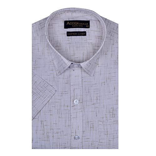 ACCOX Men's Half Sleeves Formal Regular Fit Cotton Linen Checkred Plain Brown(GO593)
