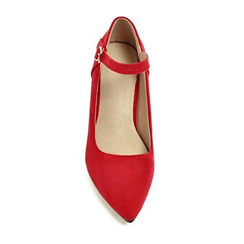KemeKiss Pointy Women Pumps Retro Jane Mary Red gqnRrwg8Xx