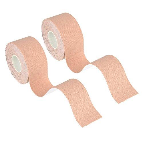 Beauty7 Cinta adhesiva de kinesiología, 2 rollos sin cortar, algodón elástico, transpirable, resistente al agua, soporte...