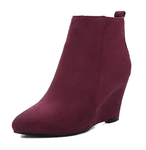 AgeeMi Shoes Women's Frosted Solid Zipper Pointed Closed Toe Kitten Heels Boots Claret