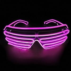 Dealgadgets EL Glasses El Wire Fashion Neon LED Light Up Shutter Shaped Glow Sun Glasses Rave Costume Party DJ Bright SunGlasses (Hot Pink)
