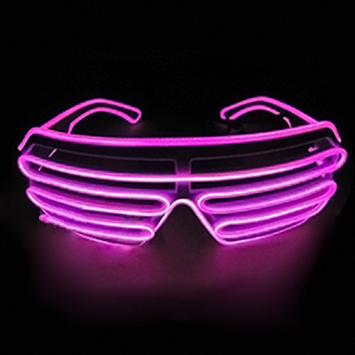 Dealgadgets EL Glasses El Wire Fashion Neon LED Light Up Shutter Shaped Glow Sun Glasses Rave Costume Party DJ Bright SunGlasses (Hot Pink)