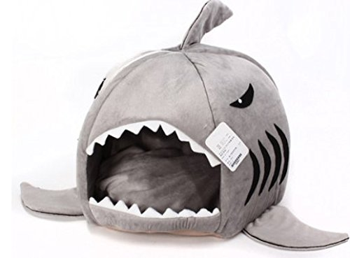 Grey-Shark-Bed-for-Small-Cat-Dog-Cave-Bed-Removable-Cushionwaterproof-Bottom-Most-Lovely-Pet-House-Gift-for-Pet