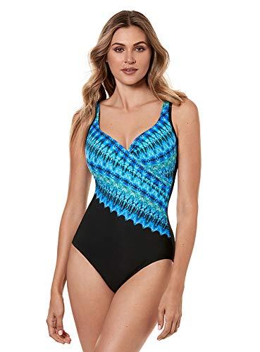 Miraclesuit Women's Swimwear Cabana Chic It's a Wrap Sweetheart Neckline Underwire Bra Tummy Control One Piece Swimsuit, Blue, 08 ()