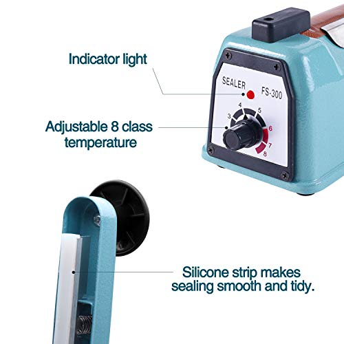 Fuxury 12 inch Impulse Heat Sealer Used Pure Copper Transformer,Manual Bag Sealer Heat Seal Closer + 2 Free Replacement KIT (Blue, 12'') by Fuxury (Image #2)