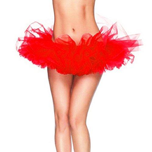 Rosso Del Vestito Tutu Clubwear DELEY Partito Dal Ballo Donne Principessa Organza gonna Mini wCRTq7g