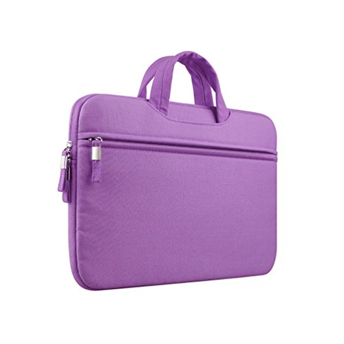 YiJee Color Sólido Tela de Lona Funda Bolso Sleeve para Ordenador Portátil / Macbook de 11-15 Pulgadas 12 Inch Púrpura