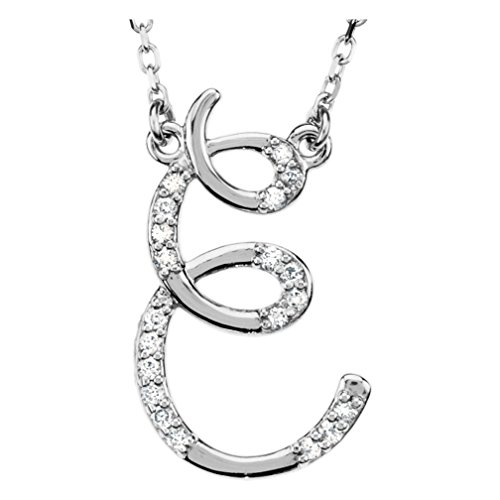 Diamond Initial 'E' Sterling Silver Pendant Necklace, 16.00'' (.10 Cttw, GH Color, I1 Clarity) by The Men's Jewelry Store (for HER)