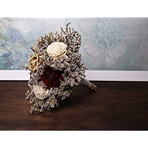 Small Rustic Wedding Bridesmaids Bouquets Made of Ivory and Gold Sola Flowers Burgundy Cedar Roses Dried Limonium Burlap Lace and Pearl Pins 5