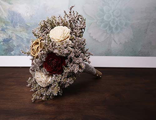 Small-Rustic-Wedding-Bridesmaids-Bouquets-Made-of-Ivory-and-Gold-Sola-Flowers-Burgundy-Cedar-Roses-Dried-Limonium-Burlap-Lace-and-Pearl-Pins