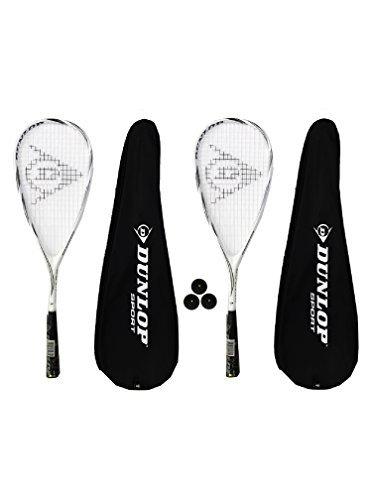 2 x Dunlop Max Lite Titanium Squash rackets + 3 Squash Balls