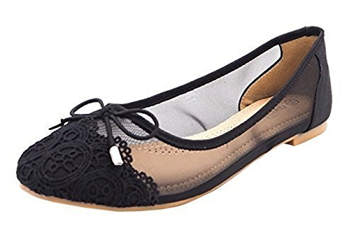 SHU CRAZY Womens Ladies Lace Mesh Bow Slip On Ballerina Ballet Fashion Dolly Pumps Shoes - K68 Black Nh5cXPOUzw