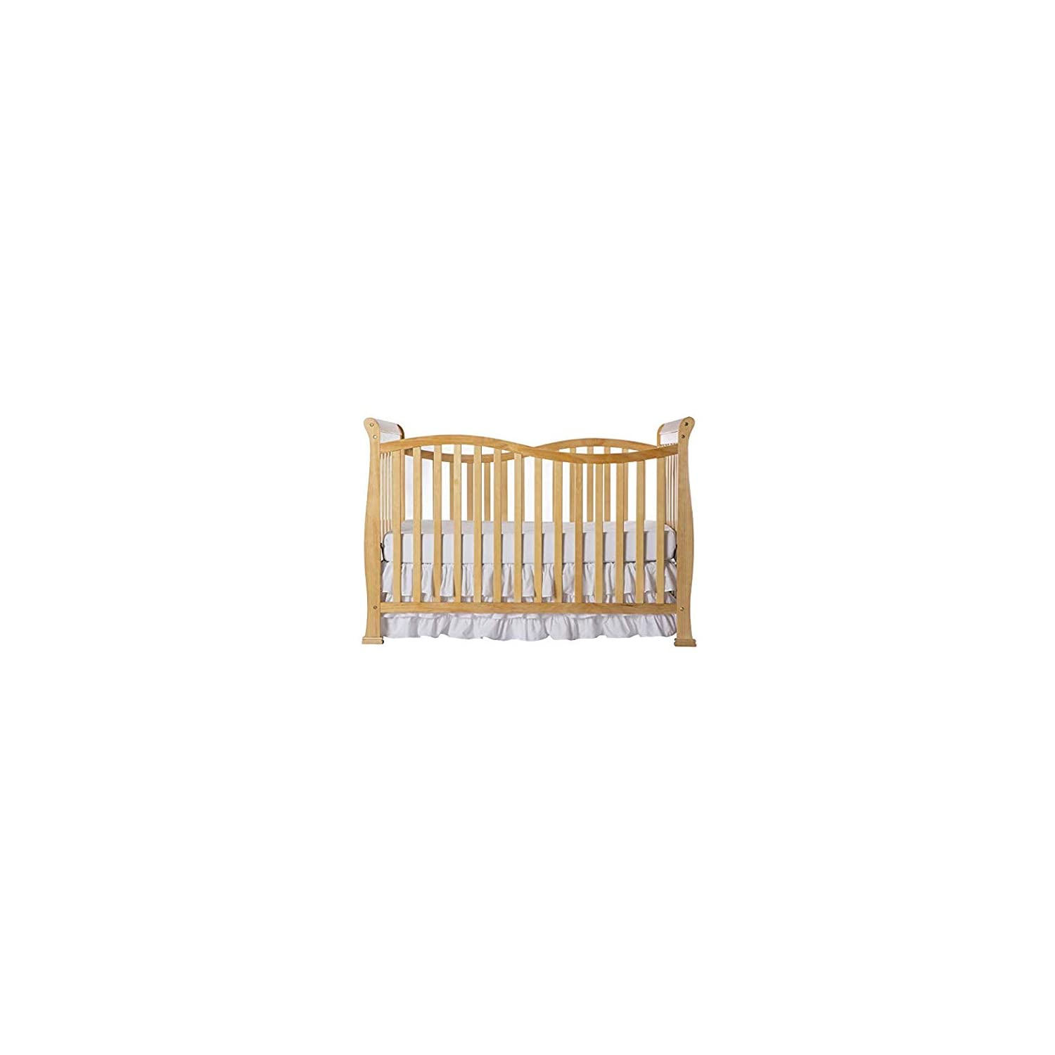 Dream On Me Violet 7 in 1 Convertible Life Style Crib, Natural with Spring Crib and Toddler Bed Mattress, Twilight
