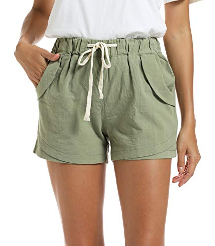 NEWFANGLE Women's Cotton Linen Causal Shorts Comfy Beach Short Drawstring Elastic Waist Shorts,Green,XXL
