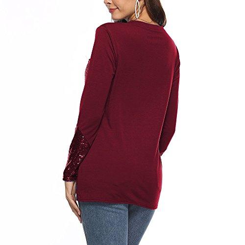 T Bottone con Camicie a a Rosso Lunghe Donna Maniche Tops Camicette Felpa Elegante Collo Tasca Autunno Pullover ABCone Shirt squined O Casual wqXn8Pw