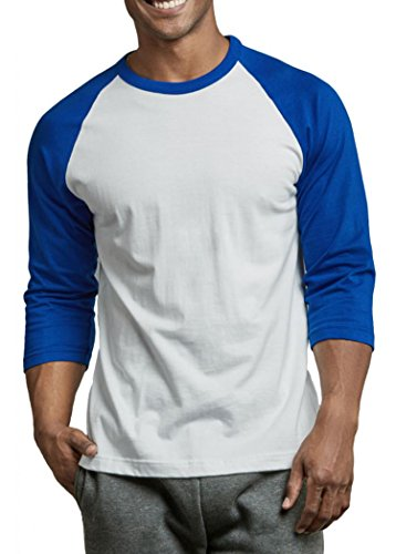 (Men's Cotton 3/4 Sleeve Baseball Tee Shirt (Blue/White,)