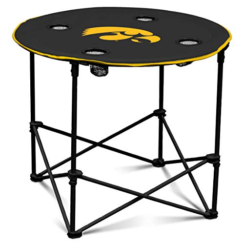 Iowa Hawkeyes Collapsible Round Table with 4 Cup Holders and Carry Bag