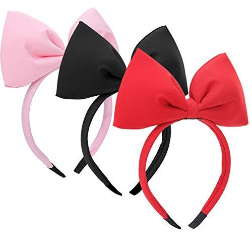 XINRUI 3 Pcs Bow Headband, Cute Bowknot Headbands Bow Hair Band Hairbands Headdress for Lady Women Girls ()