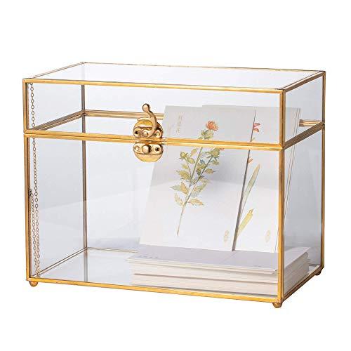 NCYP Glass Card Box, Large Geometric Terrarium Gold Handmade Brass Vintage Rectangle Shape with Foot for Wedding Receiption, Wishwell, Keepsake Centerpiece, Sturdy (Renewed) (Card Glass Box Terrarium)