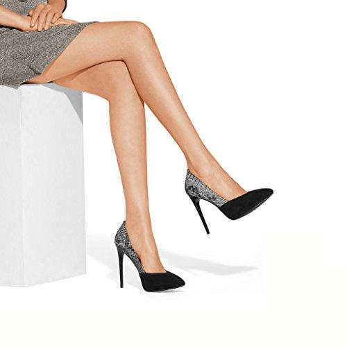 Wysm Chaussures Talons Hauts DE 10,4 cm à Talon Dépoli Et Chaussures de Couleur Assortie Gris