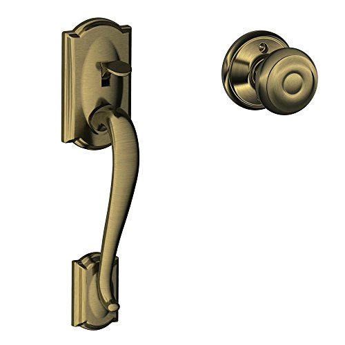 Geo 609 Entry - Camelot Front Entry Handle Georgian Interior Knob (Antique Brass) FE285 CAM 609 GEO