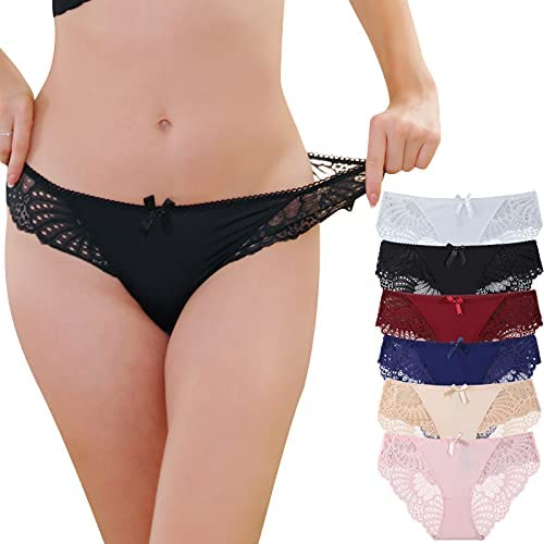 BIONEK Womens Lace Underwear Hipster Panties Ladies Hollow Out Bikini Panty with Bow Pack of 6