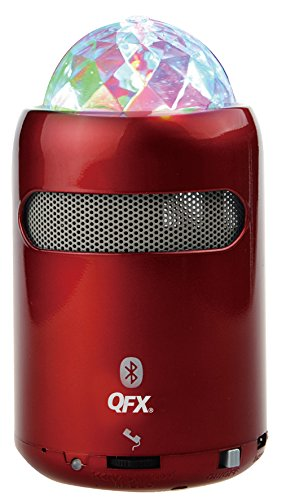 QFX BT-24 Portable Bluetooth Multimedia Speaker with Disco Light (Red) by QFX