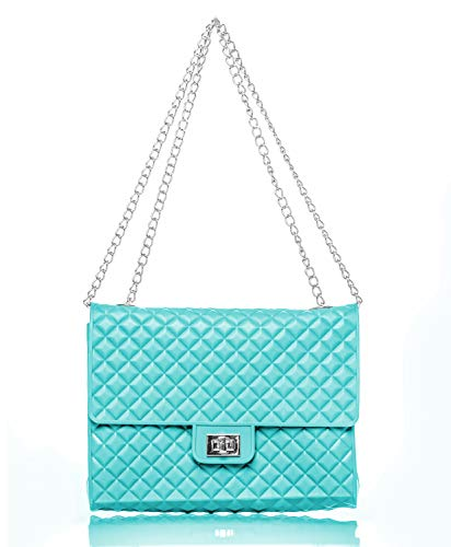 Caseahead Luxury Women Crossbody Shoulder Bag Jelly Quilted Handbag Silicone Clutch Purse with Chain Strap (Aqua) -