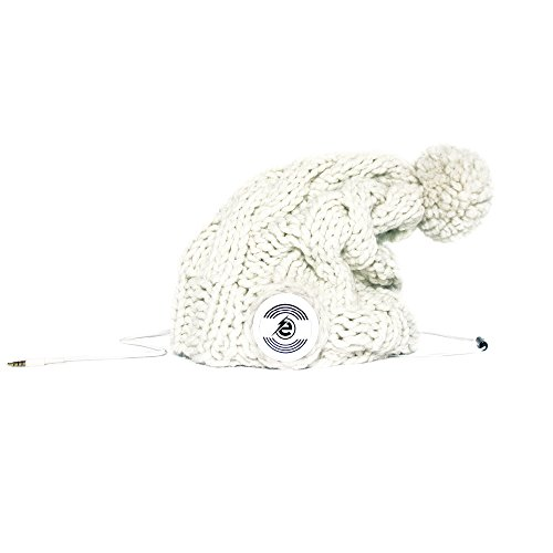 Earebel White Hand Knitted Plait Bobble Hat Beanie with Built-In White AKG Headphones, Zwart by Earebel powered by AKG
