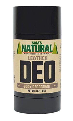 Sam's Natural Deodorant Stick - Leather, Aluminum Free, Vegan, Cruelty Free, 3 oz