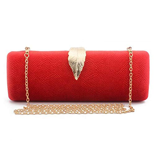Evening Clutch Bag Women Long Clutch Bag Gold Color Metal Leaf Lock Wedding Purse Female Handbag,Red