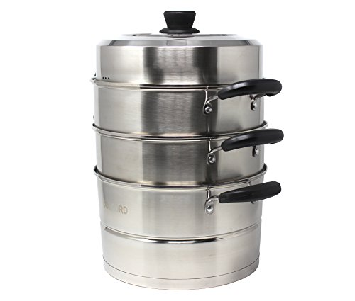 CONCORD 3 Tier Premium Stainless Steel Steamer Set (32 CM) by Concord Cookware (Image #1)