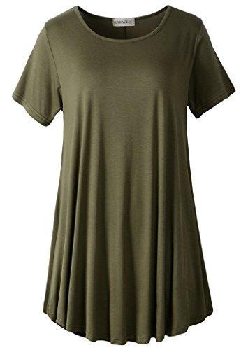 LARACE Women Short Sleeves Flare Tunic Tops for Leggings Flo