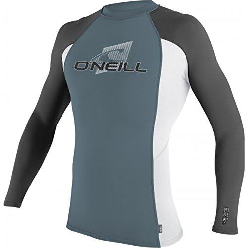 O'Neill Men's UV Sun Protection Skins Long Sleeve Crew Shirt Rash Guard, Blue/White/Graphite, Large