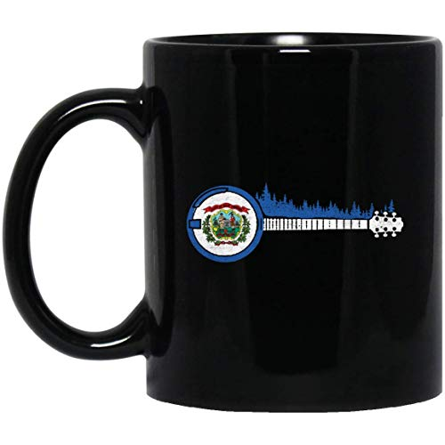 (West Virginia Flag - Bluegrass Trees & Banjo Player 11 oz. Black Mug 16102018)