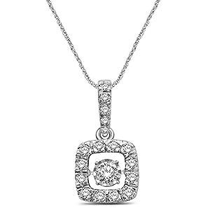 14K White Gold 1 Ct.Tw. Moving Diamond Pendant