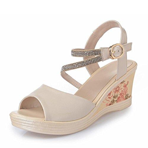 FL@YC Pente Des Femmes avec Des Sandales Cuir avec une Plate Forme étanche épaisse et étanche avec Des Chaussures à Talons Hauts Bouche De Poisson , white , 35