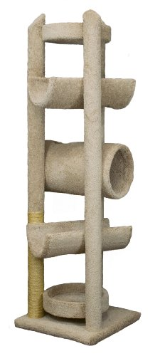"""Molly and Friends """"Sequoia"""" Extra-Large 7-Foot-Tall Premium Handmade Cat Tree with Sisal, Beige"""