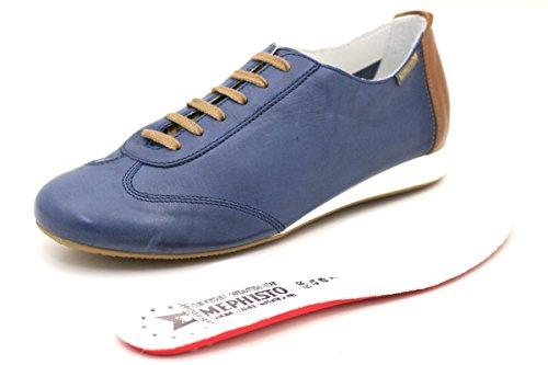 Cordones Becky Piel Mujer Texas7942 Desert de Zapatos de Azul Mephisto para nX06OBxB