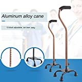 Walking Stick for Men and Women - Lightweight Adjustable Staff - Comfortable Right and Left Hand Grip for Stability Support - Four Prong Sturdy Aluminum Travel Aid