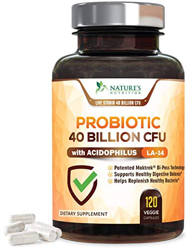 (Probiotic 40 Billion CFU. Guaranteed Potency Until Expiration - 15x More Effective Patented Delay Release Lactobacillus Acidophilus - Made in USA - Digestive Health for Women & Men - 120 Capsules)